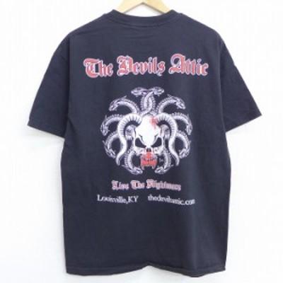 古着 半袖 Tシャツ スカル ヘビ コットン クルーネック 黒 ブラック Lサイズ 中古 メンズ Tシャツ 古着