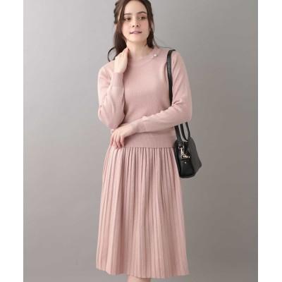 【オフオン】 ニット×プリーツスカートセットアップ レディース ピンク L OFUON
