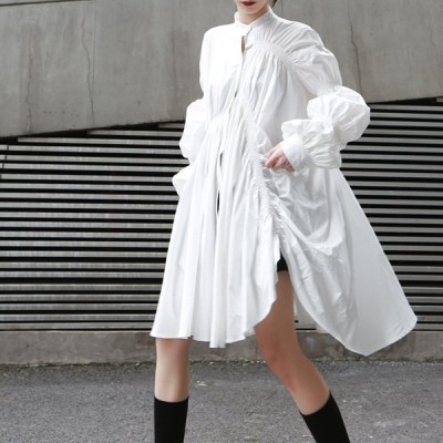 ワンピース 長袖ワンピース ノーカラー 膝丈 不規則 カジュアル シャツワンピース バルーンスリーブ 人気 ファッション新作