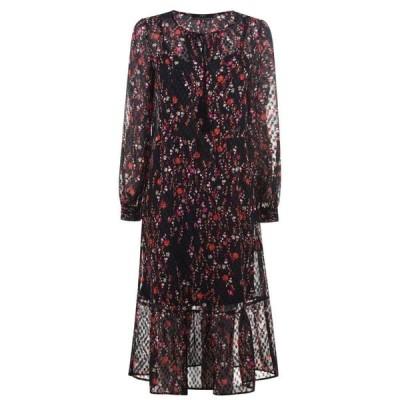 セット SET レディース ワンピース ワンピース・ドレス Floral Sheer Dress BLACK RED