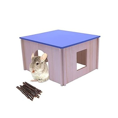 HERCOCCI Guinea Pig Wooden House, Play & Chew - Small Animal Hideout Hut wi