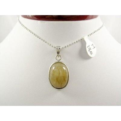 天然石 金針水晶(ゴールドルチル) ペンダント、縦約17.5mm、横約13mm、gold-r-p-h140