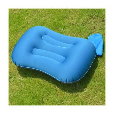 キャンプ 枕 エアーピロー 携帯用 クッション ピロー 枕 収納袋付き アウトドア キャンプ 車中泊 事務室 (ブルー)