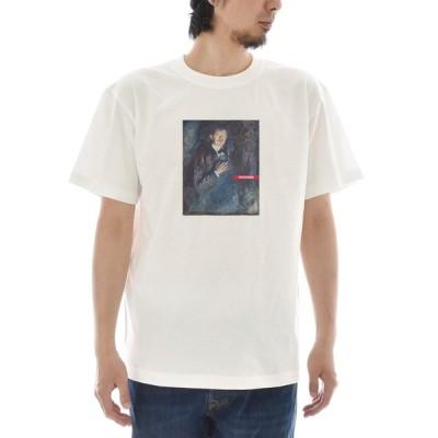 【アートTシャツ】ムンク Tシャツ 煙草を持つ自画像 エドヴァルド・ムンク ライフ イズ アート 半袖 メンズ レディース 大きいサイズ 絵画 ホワイト 白