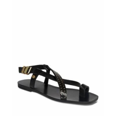オールセインツ レディース サンダル シューズ Women's Eden Square Toe Studded Crackle Leather Sandals Black