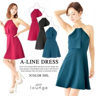 キャバ ドレス キャバドレス ワンピース 大きいサイズ ゴールドフープ ワンカラー Aライン ミニドレス