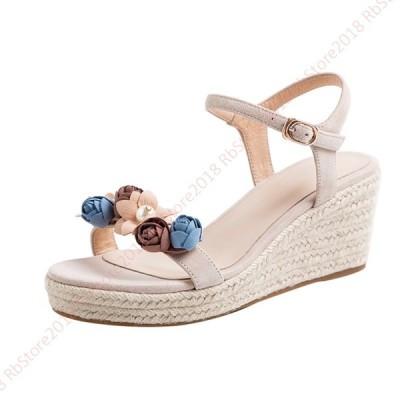 サンダル 美脚 ウェッジソール サンダル レディース ジュート  青色 杏色 厚底 ウエッジソール ミセス 靴 歩きやすい 疲れない 痛くない 防滑 カジュアル