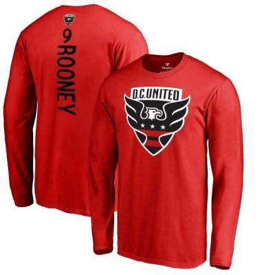 ユニセックス スポーツリーグ サッカー Wayne Rooney D.C. United Fanatics Branded Backer Name & Number Long Sleeve T-Shirt - Red