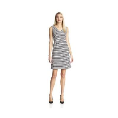 Jones New ヨーク レディース ストライプ ニット Sleeveless ドレス, ホワイト/Black, 8(海外取寄せ品)