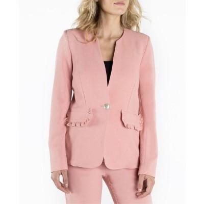 ナネットレポー ジャケット&ブルゾン アウター レディース Long Sleeve Single Breasted Blazer with Ruffled Flap Pockets Pink