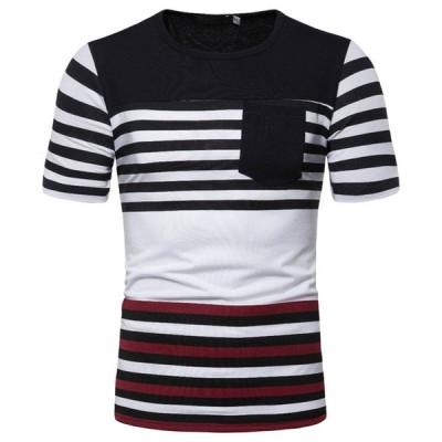 メンズ 半袖Tシャツ ボーダー 夏Tシャツ 大きいサイズ トップス スポーツ ルームウェア 半袖 Tシャツ メンズ ゆったり
