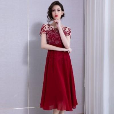 ラウンドネック ビジュー 装飾 キラキラ 花柄 透け感 ウエストマーク エレガント 膝丈 ドレス