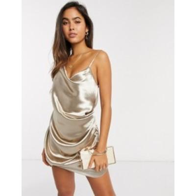 エイソス レディース ワンピース トップス ASOS DESIGN drape slip mini dress in high shine Champagne satin Champagne