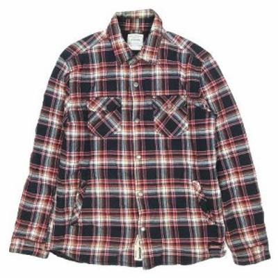 【中古】ディッキーズ Dickies チェック柄 ワークシャツ 長袖 中綿入り サイズXL 赤 レッド ◎5 メンズ