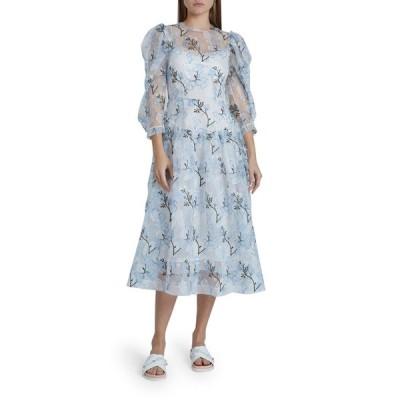 シモーネ・ロシャ レディース ワンピース トップス Full-Sleeve Floral-Embroidered Dress