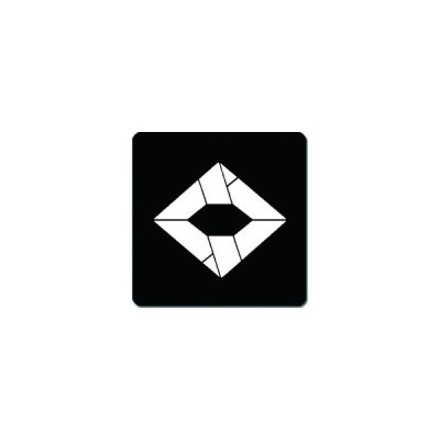 家紋シール 向かい文菱紋 24cm x 24cm KS24-1209W 白紋