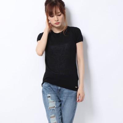 ゲス GUESS T-Shirt Manica Corta Donna (JET BLACK W/ FROST GREY)