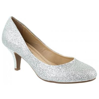 シティークラッシフィード レディース パンプス Cityclassified Comfort Shoes Women's Carlos-H Slip On Round Toe Glittering Pumps with Low Heel