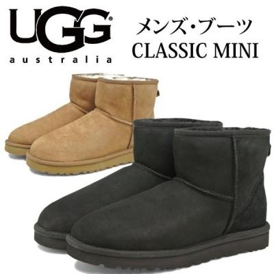 UGG アグ 2017-2018年秋冬新作 メンズ CLASSIC MINI 1002072M ブラック チェスナット クラシック ショート ブーツ シープスキン スエード【送料無料】