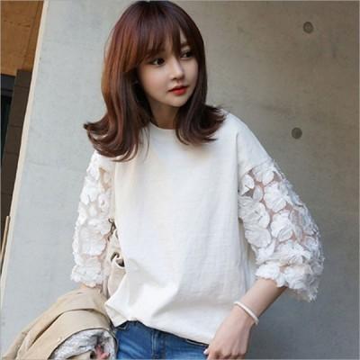 カットソー Tシャツ フラワーモチーフ(ホワイト)シースルー7分袖