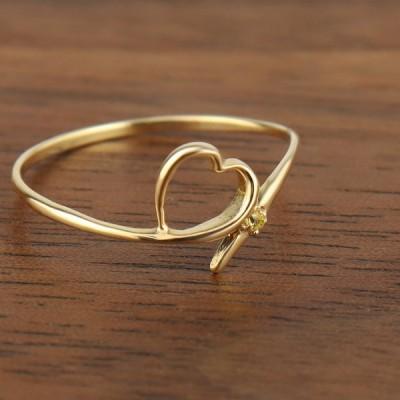 イエロー サファイア オープンハート リング K10 ゴールド ハート 指輪 10金 10k シンプル かわいい 細め 細身 レディース
