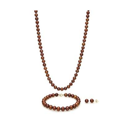 14K イエローゴールド 養殖 淡水真珠 18インチ ネックレス ブレスレット スタッドピアス セット