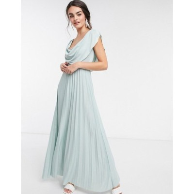 エイソス レディース ワンピース トップス ASOS DESIGN cowl neck maxi pleated dress in light sage