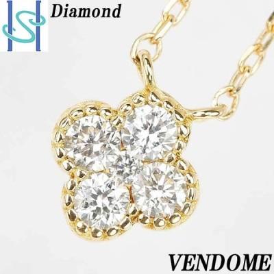 ヴァンドーム青山 ダイヤモンド ネックレス K18 イエローゴールド 花 フラワー VENDOME AOYAMA 中古 SH59406