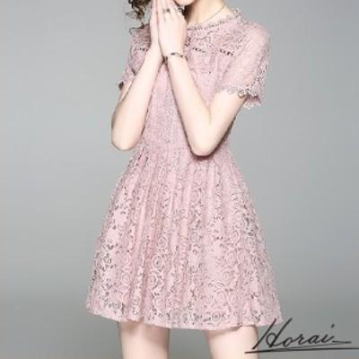 韓国 ドレス 半袖 ショート丈 レース 刺繍 スカート ワンピース フォーマル 結婚式 二次会 秋冬 20代 30代 40代