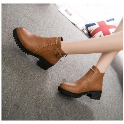 ショートブーツ レディース ローヒール 履きやすい 黒 ブーティ 厚底靴 疲れない 美脚 新作 sasa1759