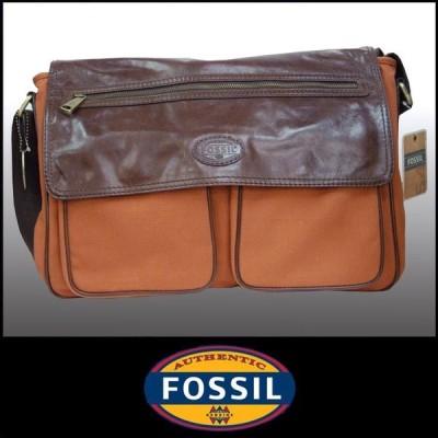 【Safari OCEANS 掲載 ブランド】 FOSSIL フォッシル レザー キャンバス コンビ バッグ ブラウン メンズ レディース TRANSIT CVS EW MESSENGER BAG