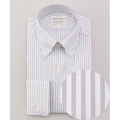 【五大陸】 PREMIUMPLEATS ドレスシャツ / スナップボタンカラー メンズ グレー系1 14H(37-83) gotairiku