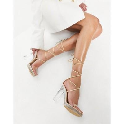 トリュフコレクション Truffle Collection レディース サンダル・ミュール シューズ・靴 Tie Leg Clear Heeled Sandals In Beige