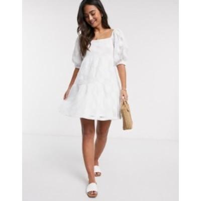 エイソス レディース ワンピース トップス ASOS DESIGN embroidered lace mini smock dress in white White