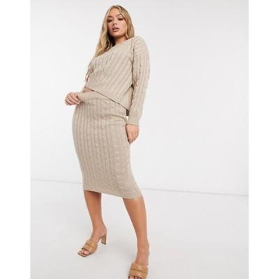 フェム リュクス レディース ニット・セーター アウター Femme Luxe cable knitted sweater and midi skirt in biscuit