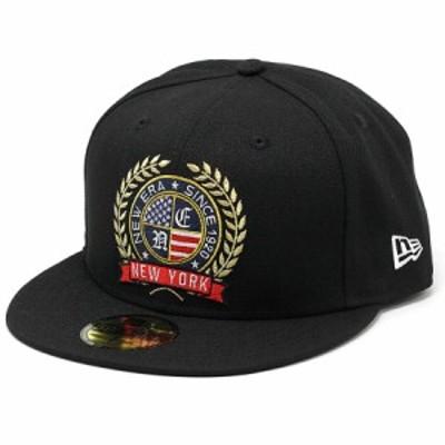 NEWERA キャップ 59FIFTY ロゴエンブロイダリー エンブレム 帽子 大きいサイズあり ベースボールキャップ アメリカ国旗 ストリート ブラ