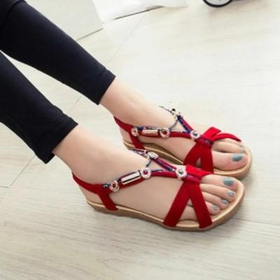 送料無料 新品 女性用ボヘミアンサンダル 夏 サマー 靴 シューズ レディース ファッション おしゃれ アジアン 3色