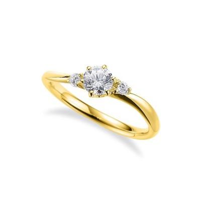 指輪 18金 イエローゴールド 天然石 サイドストーンリング 主石の直径約4.4mm ウェーブ 六本爪留め K18YG 18k 貴金属 ジュエリー レディース メンズ