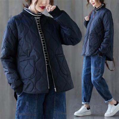 レディース 中綿ジャケット キルティングコート 綿入れ オーバーコート ショート 軽量 女子アウター ノー