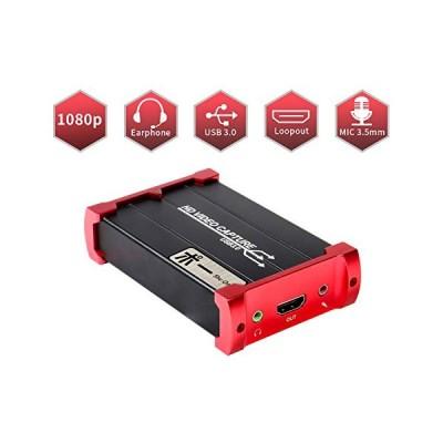SaleShuOneキャプチャカード、USB 3.0 HDMIゲームキャプチャカードデバイス、HDMIループアウトおよびマイクオーディオミックスサポートHDビデオHDCP 1080P Windo