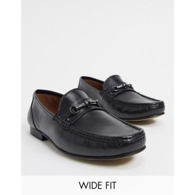 エイソス メンズ スリッポン・ローファー シューズ ASOS DESIGN Wide Fit loafers in black leather Black