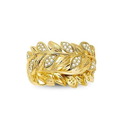 GNOCE 925 Sterling Silver Wreath Ring 18K Gold Plated Women Rings inlaid wi