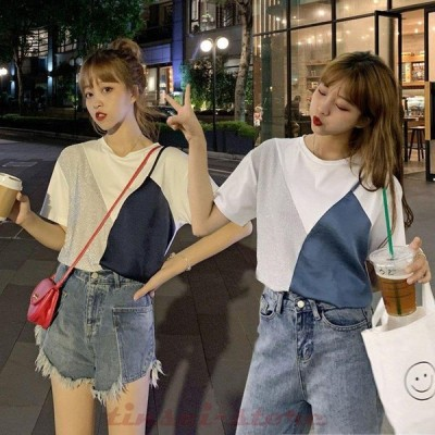 Tシャツ レディース きれいめ 40代 春夏 上品 半袖Tシャツ ブラウス 綿 白トップス 配色 切り替え オシャレ 韓国風 ゆったりカットソー 2色 Tシャツ