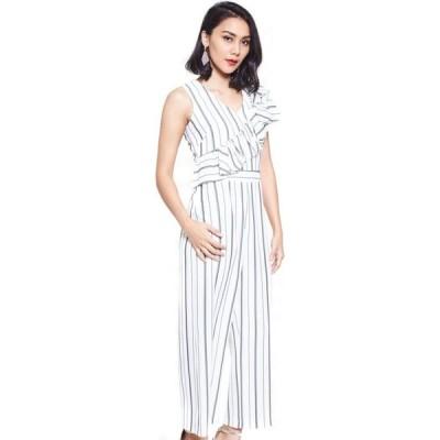 ニチイ Nichii レディース オールインワン ジャンプスーツ ワンピース・ドレス Ruffled Shadow Stripe Jumpsuit Off White