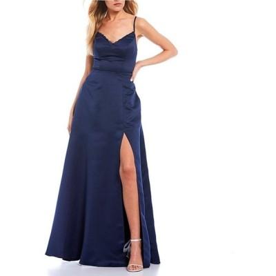 シティヴァイブ レディース ワンピース トップス Sleeveless Lace-Bra-Back Side Slit A-Line Satin Long Dress