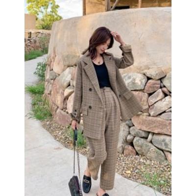 レディースファッション セットアップ パンツ チェック ダブル きれいめ カジュアル オルチャン 韓国 レトロ ブラウン