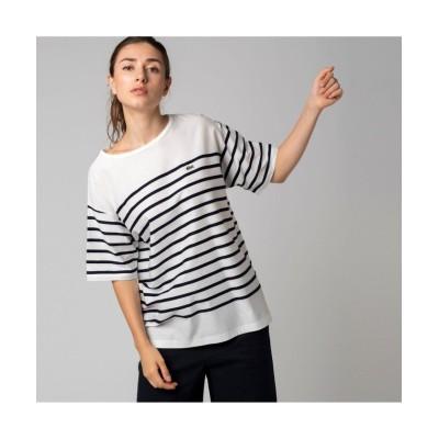 【ラコステ】 リップルボーダージャージTシャツ レディース ホワイト 36(M) LACOSTE
