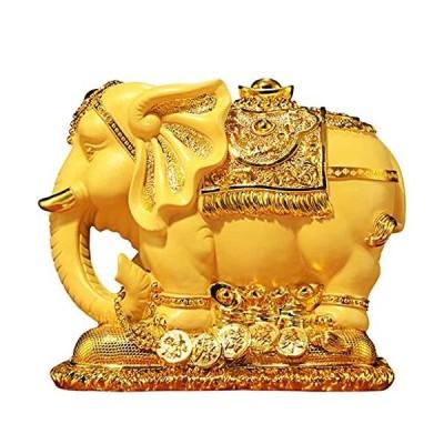 かわいい象の形をした樹脂貯金箱コインバンクマネーバンクギフト愛好家の子供たちの家の装飾ゴールド (Color :
