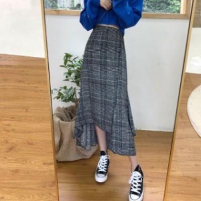 グレンチェック フィッシュテール スカート レディース 大きいサイズ タイト フレア ロング 通勤 韓国