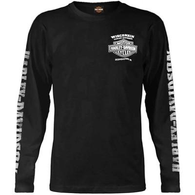 ハーレー★ Harley-Davidson Men's Skull Lightning Crest Graphic Long Sleeve Shirt, Black 輸入品